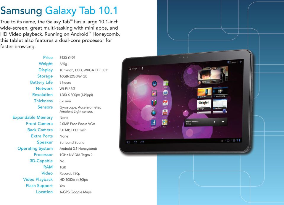Running on Android Honeycomb, this tablet also features a dual-core processor for faster browsing. 430-499 565g 10.