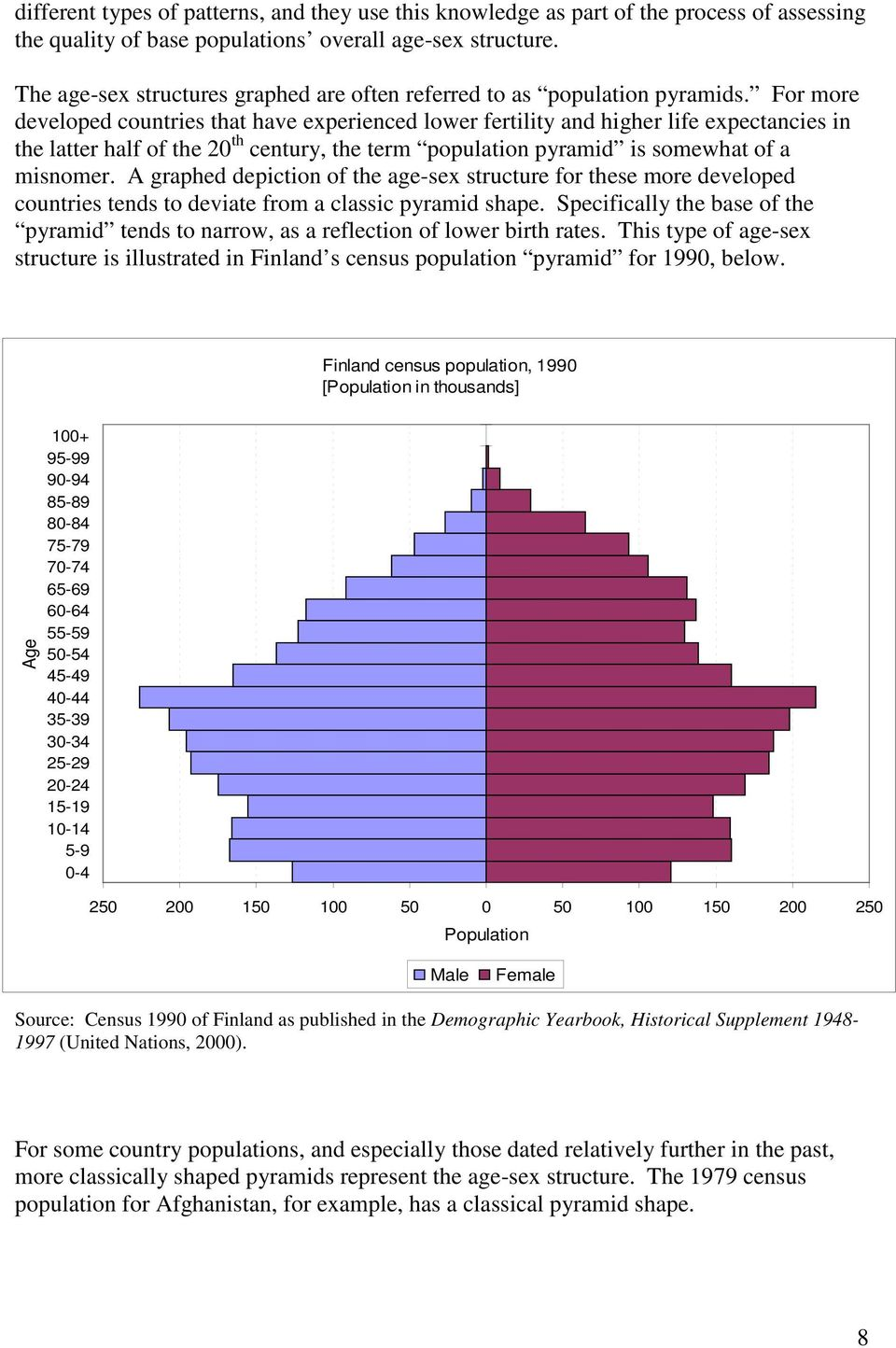 For more developed countries that have experienced lower fertility and higher life expectancies in the latter half of the 20 th century, the term population pyramid is somewhat of a misnomer.