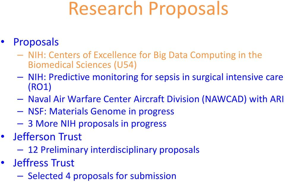 Center Aircraft Division (NAWCAD) with ARI NSF: Materials Genome in progress 3 More NIH proposals in