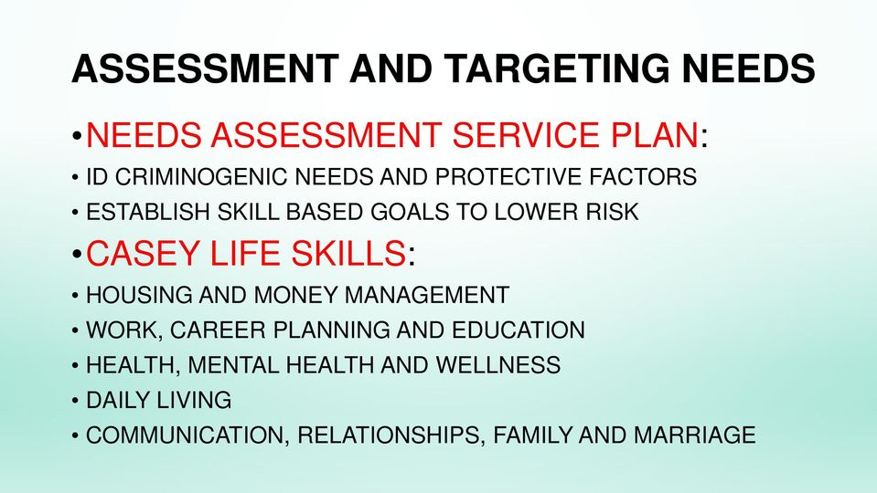 SKILLS: HOUSING AND MONEY MANAGEMENT WORK, CAREER PLANNING AND EDUCATION HEALTH,