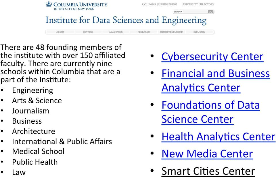 Journalism Business Architecture Interna7onal & Public Affairs Medical School Public Health Law Cybersecurity