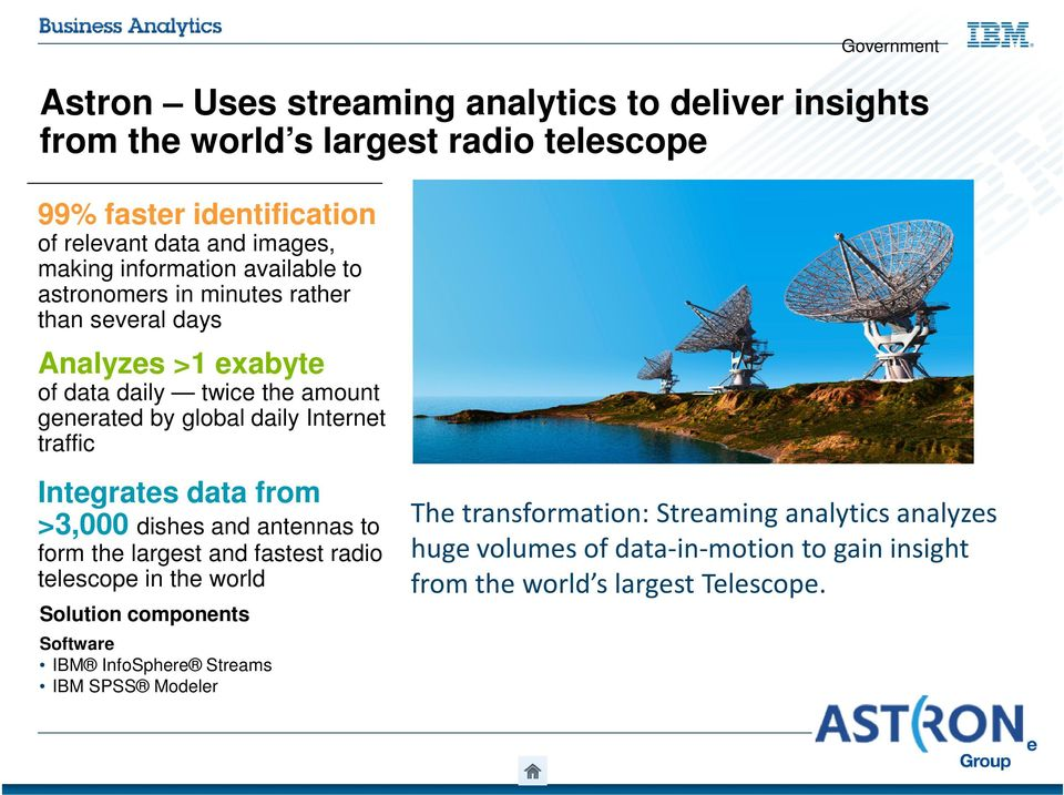 traffic Government Integrates data from >3,000 dishes and antennas to form the largest and fastest radio telescope in the world Solution components Software IBM