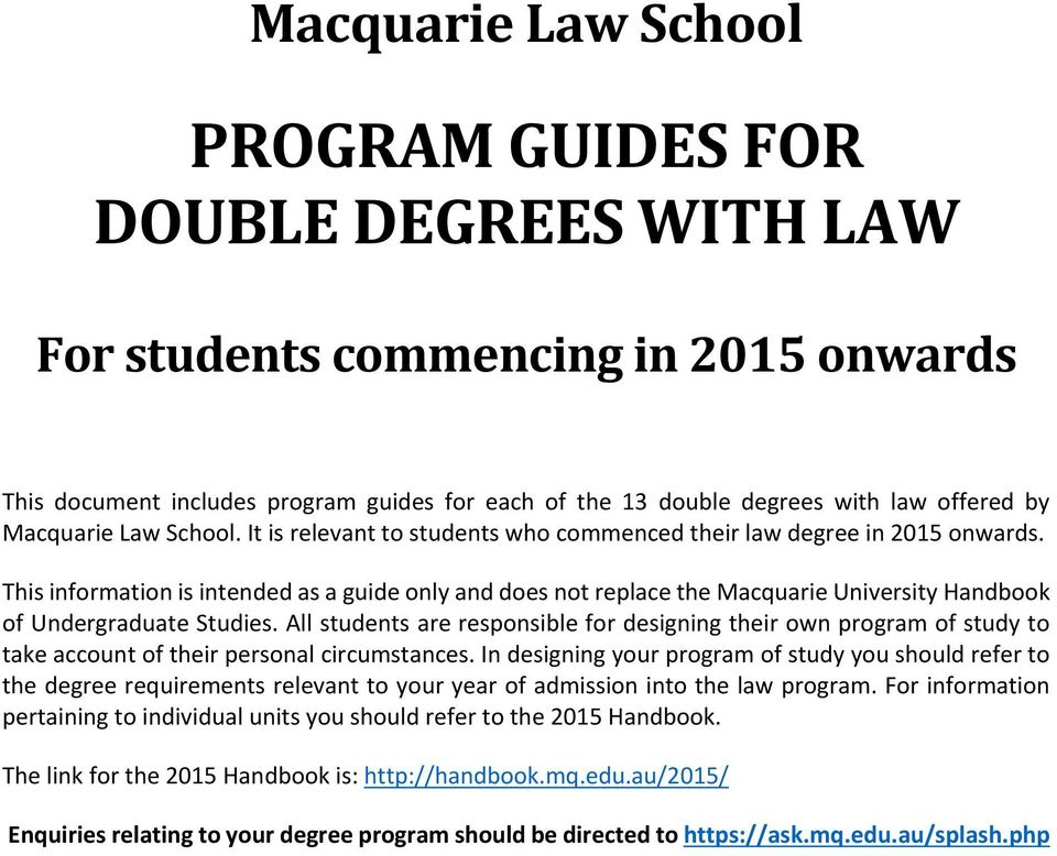 This information is intended as a guide only and does not replace the Macquarie University Handbook of Undergraduate Studies.