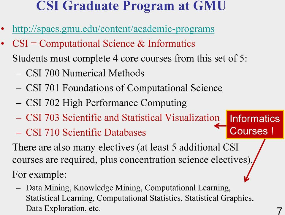 Databases There are also many electives (at least 5 additional CSI courses are required, plus concentration science electives).