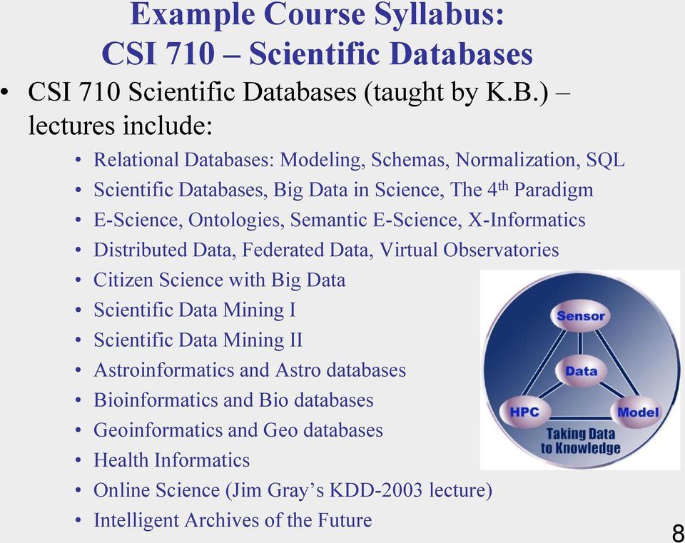 Ontologies, Semantic E-Science, X-Informatics Distributed Data, Federated Data, Virtual Observatories Citizen Science with Big Data Scientific Data Mining I