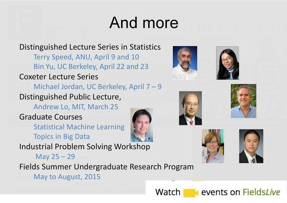 Public Lecture, Andrew Lo, MIT, March 25 Graduate Courses Statistical Machine Learning Topics in Big