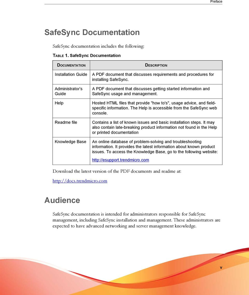 "SafeSync. A PDF document that discusses getting started information and SafeSync usage and management. Hosted HTML files that provide ""how to's"", usage advice, and fieldspecific information."