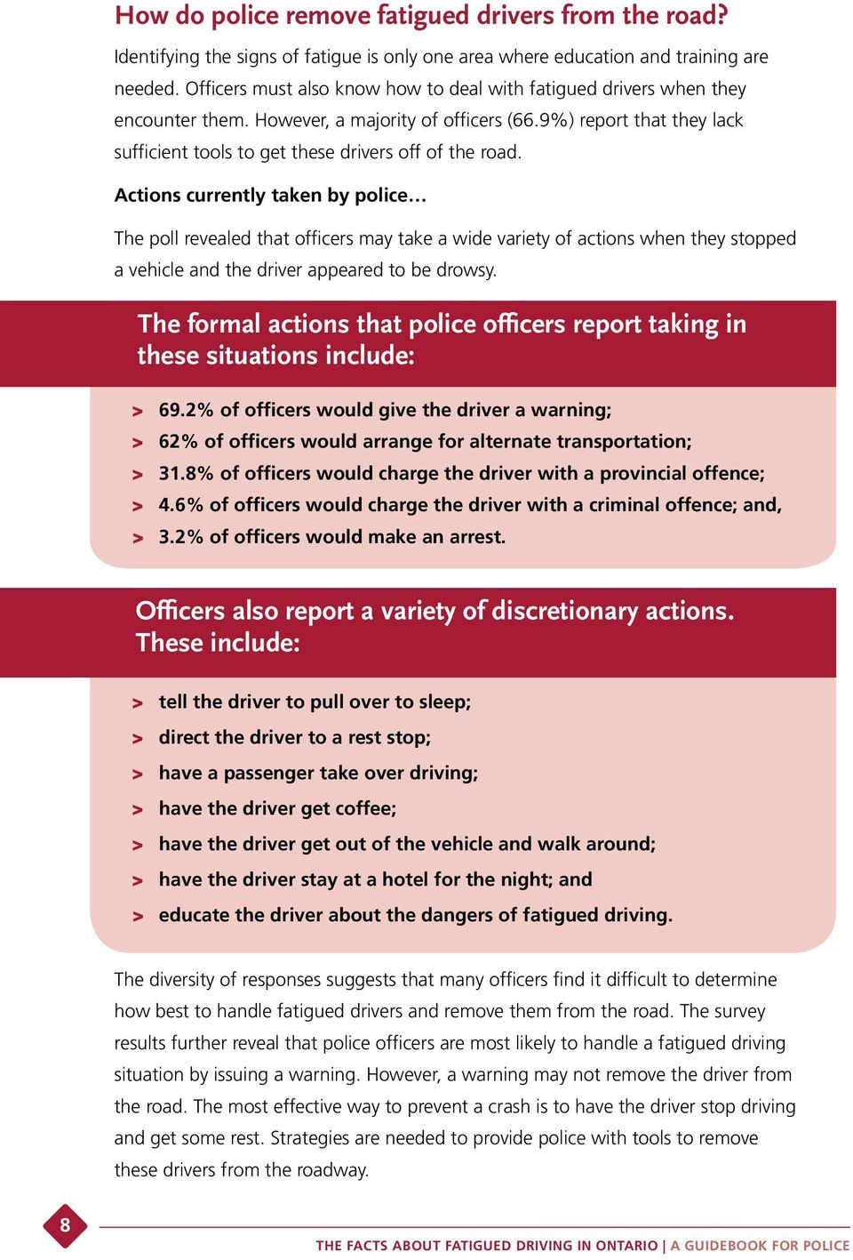 Actions currently taken by police The poll revealed that officers may take a wide variety of actions when they stopped a vehicle and the driver appeared to be drowsy.