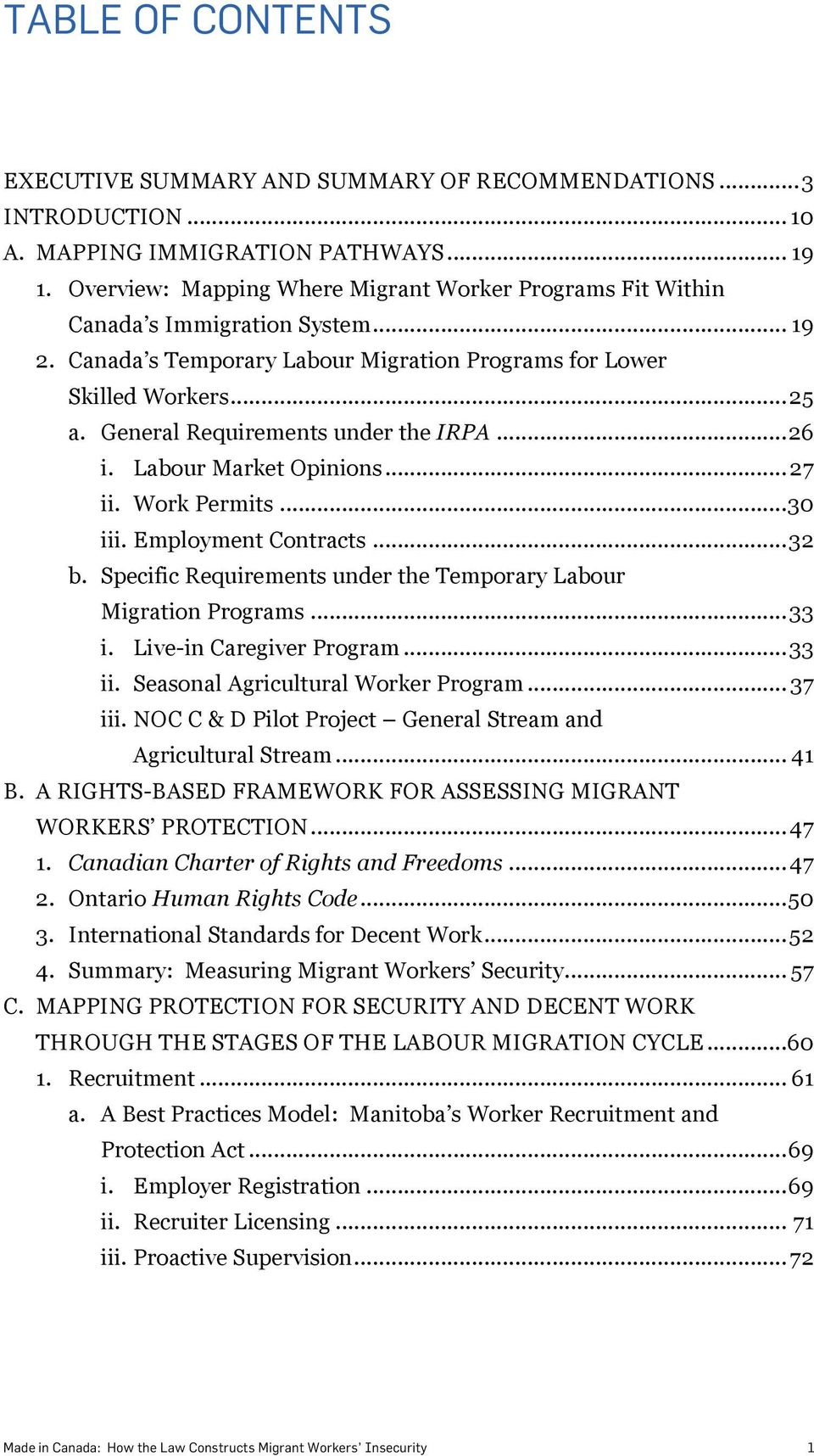 !employment Contracts...32! b.! Specific Requirements under the Temporary Labour Migration Programs...33! i.! Live-in Caregiver Program...33! ii.! Seasonal Agricultural Worker Program... 37! iii.