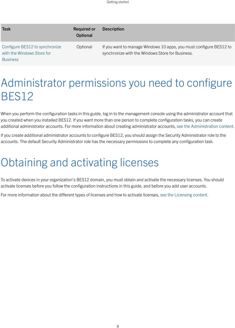 Administrator permissions you need to configure BES12 When you perform the configuration tasks in this guide, log in to the management console using the administrator account that you created when