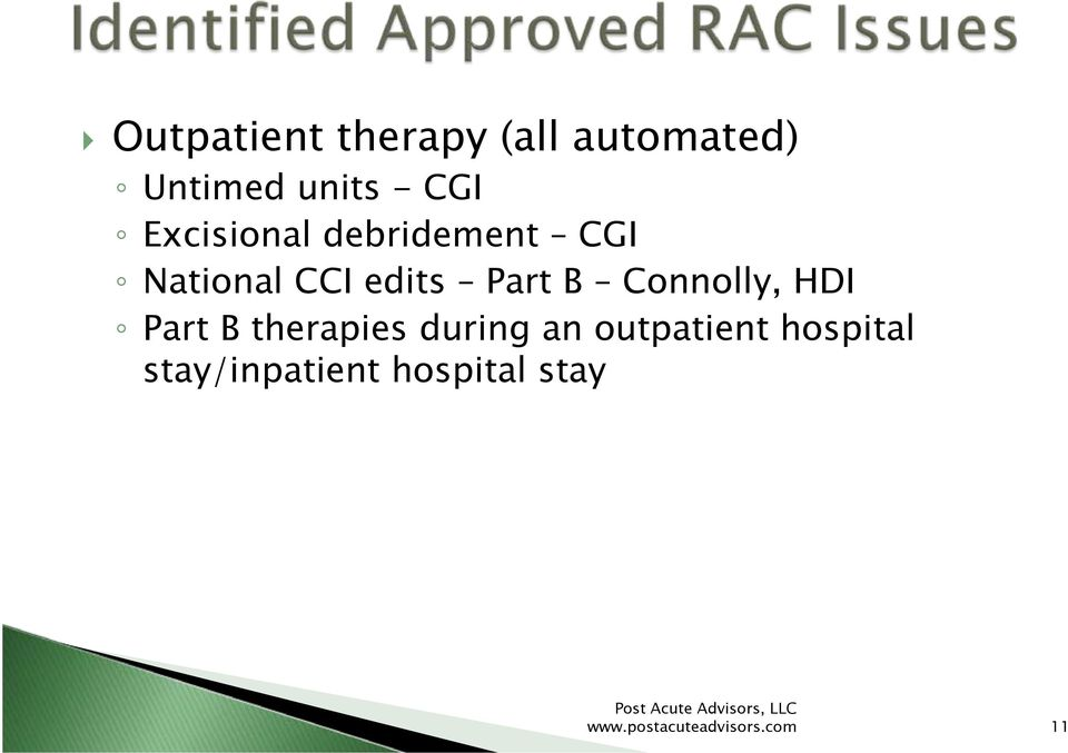 Connolly, HDI Part B therapies during an outpatient