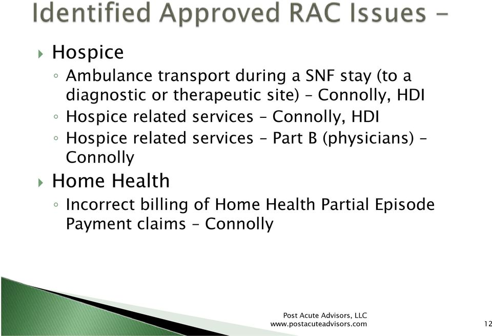 Hospice related services Part B (physicians) Connolly Home Health Incorrect