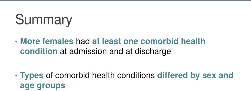 and at discharge Types of comorbid