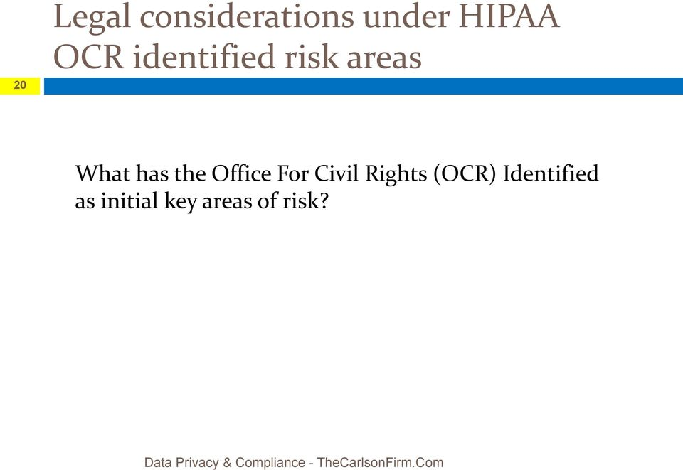 Civil Rights (OCR) Identified as initial key