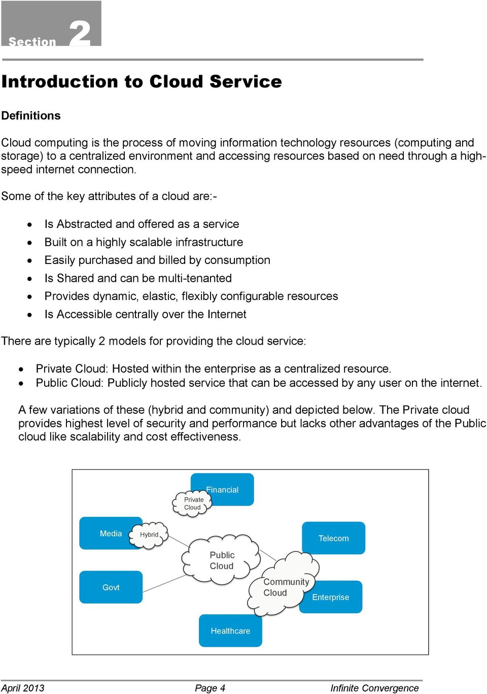 Some of the key attributes of a cloud are:- Is Abstracted and offered as a service Built on a highly scalable infrastructure Easily purchased and billed by consumption Is Shared and can be
