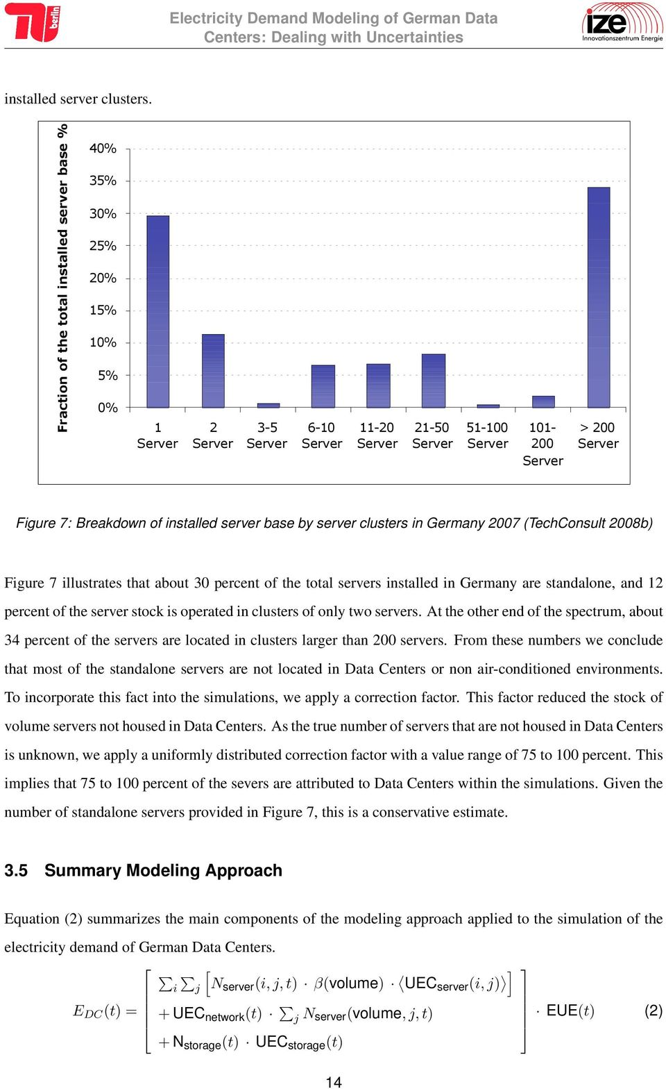 Breakdown of installed server base by server clusters in Germany 2007 (TechConsult 2008b) Figure 7 illustrates that about 30 percent of the total servers installed in Germany are standalone, and 12