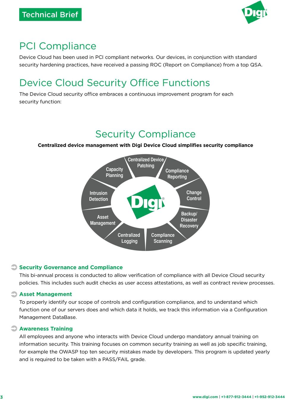 Device Cloud Security Office Functions The Device Cloud security office embraces a continuous improvement program for each security function: Security Compliance Centralized device management with