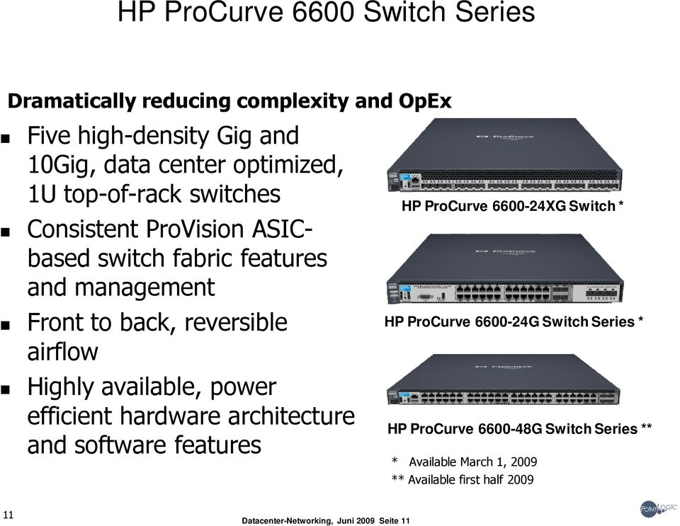available, power efficient hardware architecture and software features HP ProCurve 6600-24XG Switch * HP ProCurve 6600-24G Switch