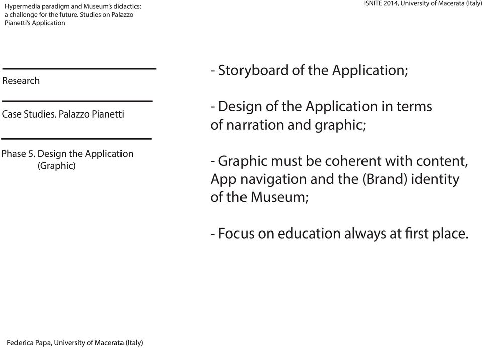 Design of the Application in terms of narration and graphic; -
