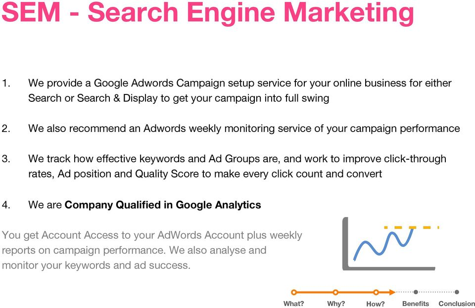 We also recommend an Adwords weekly monitoring service of your campaign performance 3.