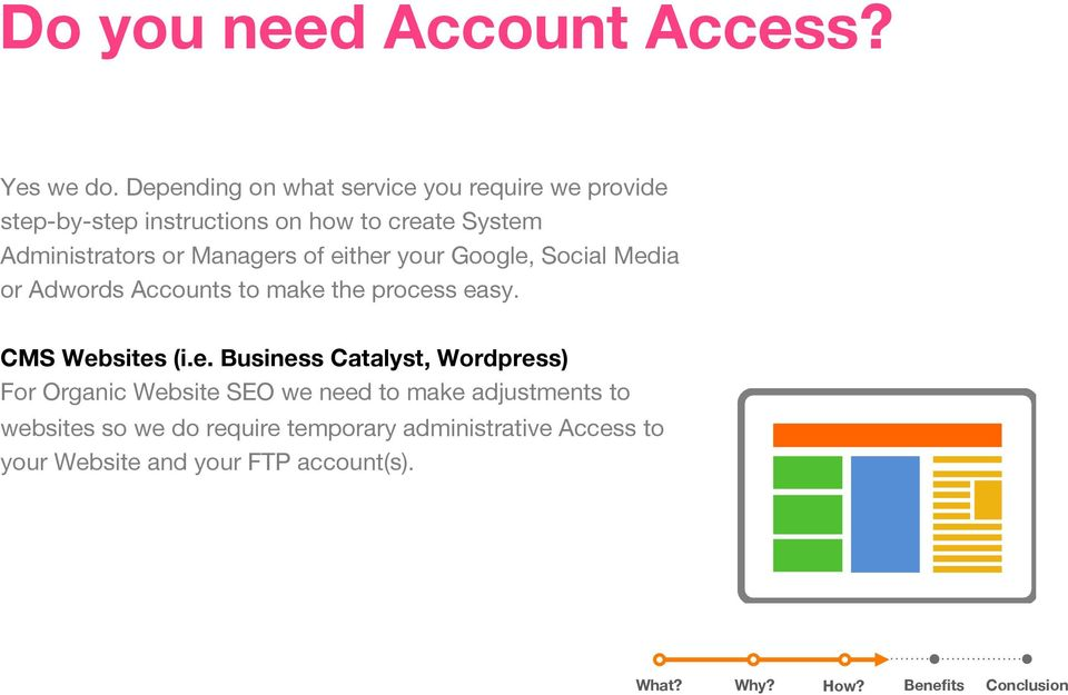 Administrators or Managers of either your Google, Social Media or Adwords Accounts to make the process easy.