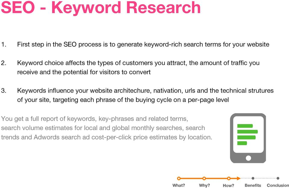 Keywords influence your website architechure, nativation, urls and the technical strutures of your site, targeting each phrase of the buying cycle on a