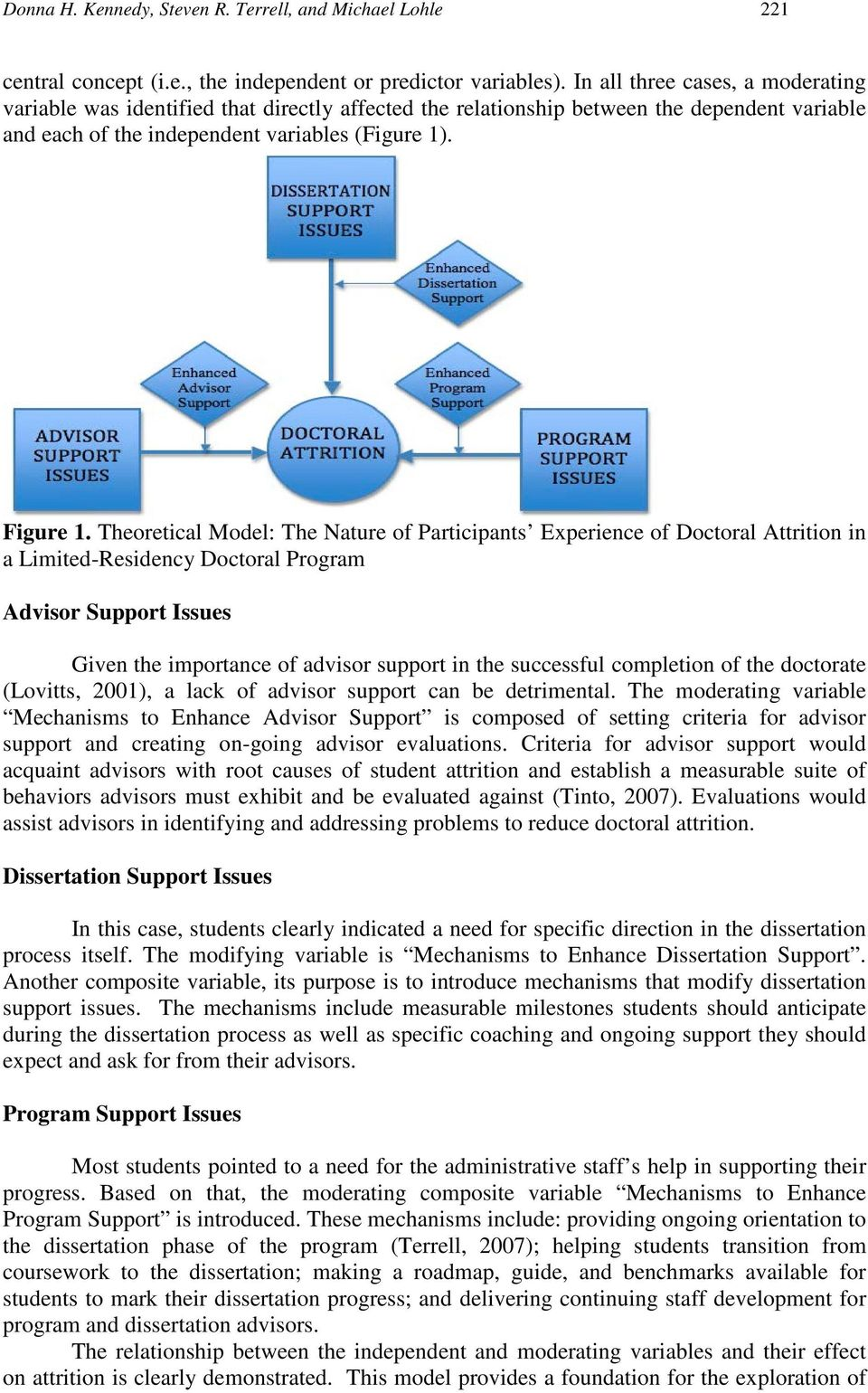 Theoretical Model: The Nature of Participants Experience of Doctoral Attrition in a Limited-Residency Doctoral Program Advisor Support Issues Given the importance of advisor support in the successful