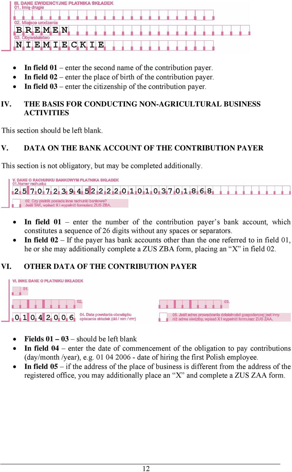 DATA ON THE BANK ACCOUNT OF THE CONTRIBUTION PAYER This section is not obligatory, but may be completed additionally.