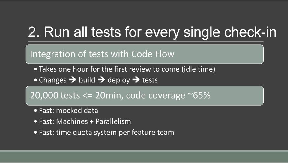 Changes build deploy tests 20,000 tests <= 20min, code coverage ~65%