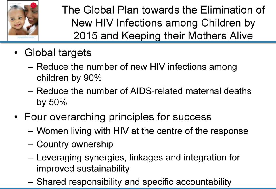 deaths by 50% Four overarching principles for success Women living with HIV at the centre of the response Country