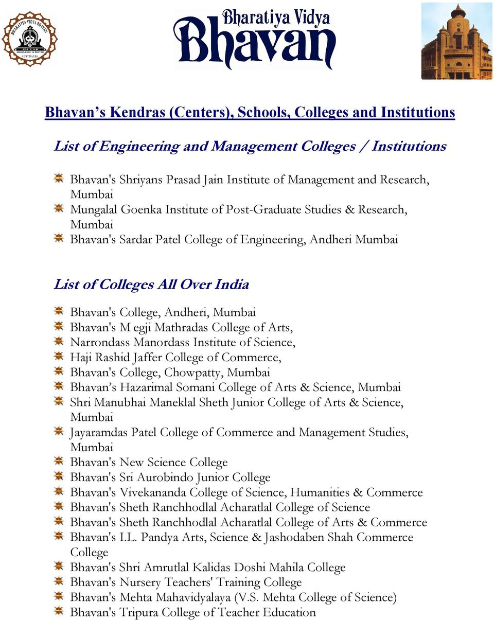 College of Arts, Narrondass Manordass Institute of Science, Haji Rashid Jaffer College of Commerce, Bhavan's College, Chowpatty, Bhavan s Hazarimal Somani College of Arts & Science, Shri Manubhai