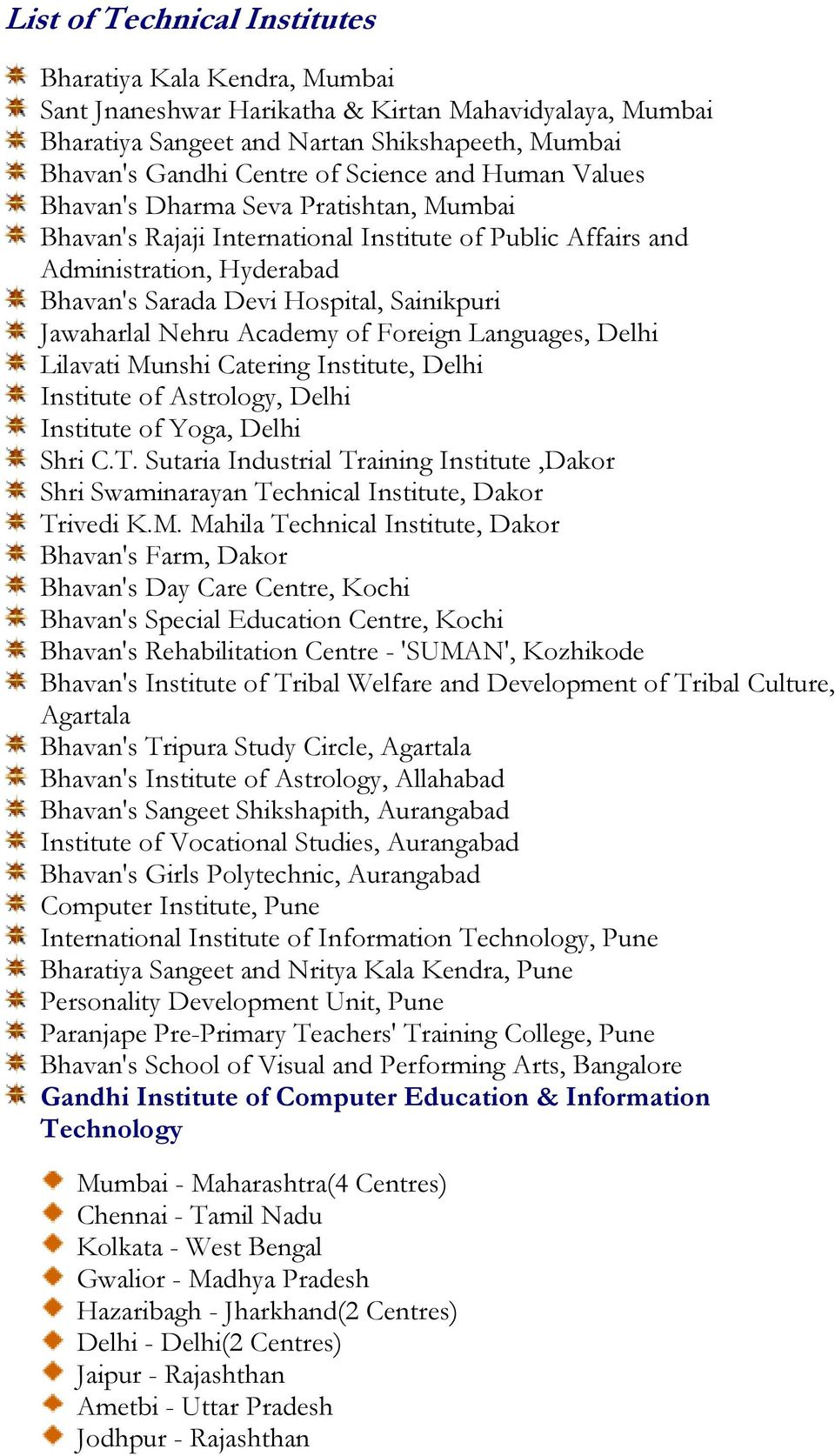 Languages, Delhi Lilavati Munshi Catering Institute, Delhi Institute of Astrology, Delhi Institute of Yoga, Delhi Shri C.T.