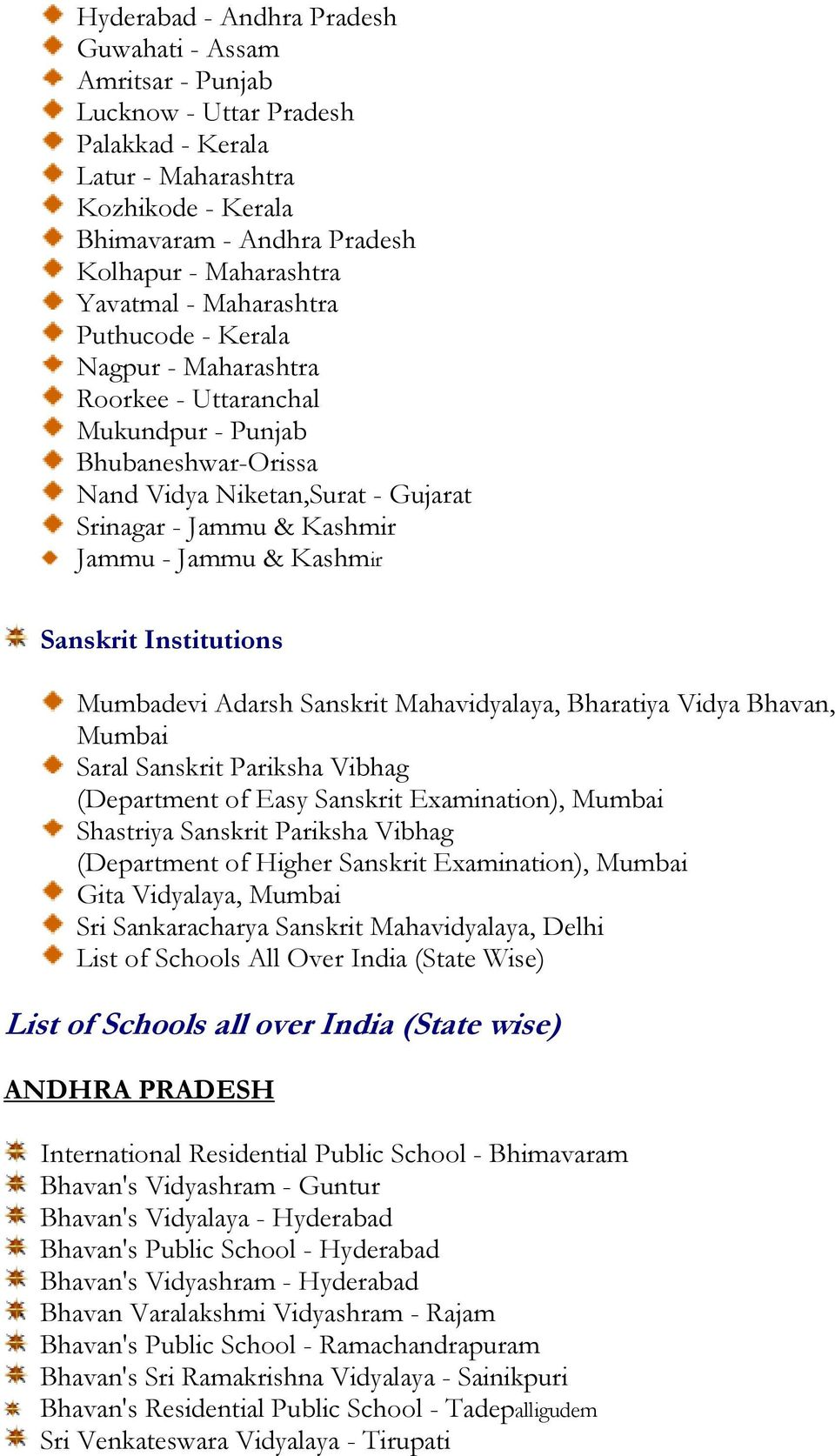 & Kashmir Sanskrit Institutions Mumbadevi Adarsh Sanskrit Mahavidyalaya, Bharatiya Vidya Bhavan, Saral Sanskrit Pariksha Vibhag (Department of Easy Sanskrit Examination), Shastriya Sanskrit Pariksha