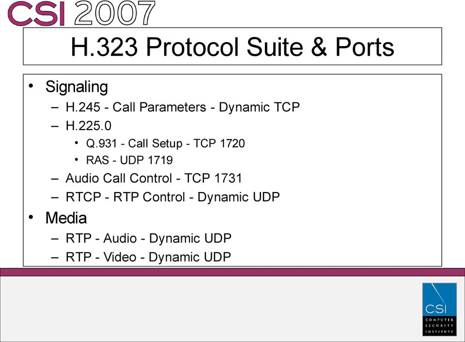 931 - Call Setup - TCP 1720 RAS - UDP 1719 Audio Call Control