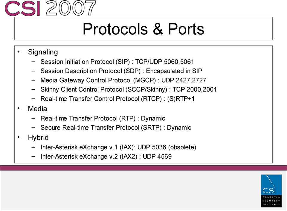 2000,2001 Real-time Transfer Control Protocol (RTCP) : (S)RTP+1 Media Real-time Transfer Protocol (RTP) : Dynamic Secure