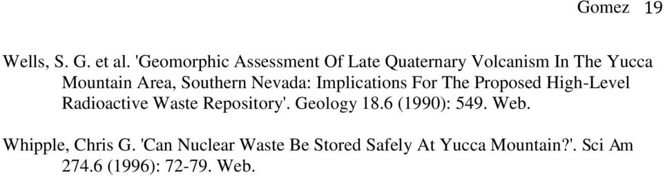 Southern Nevada: Implications For The Proposed High-Level Radioactive Waste