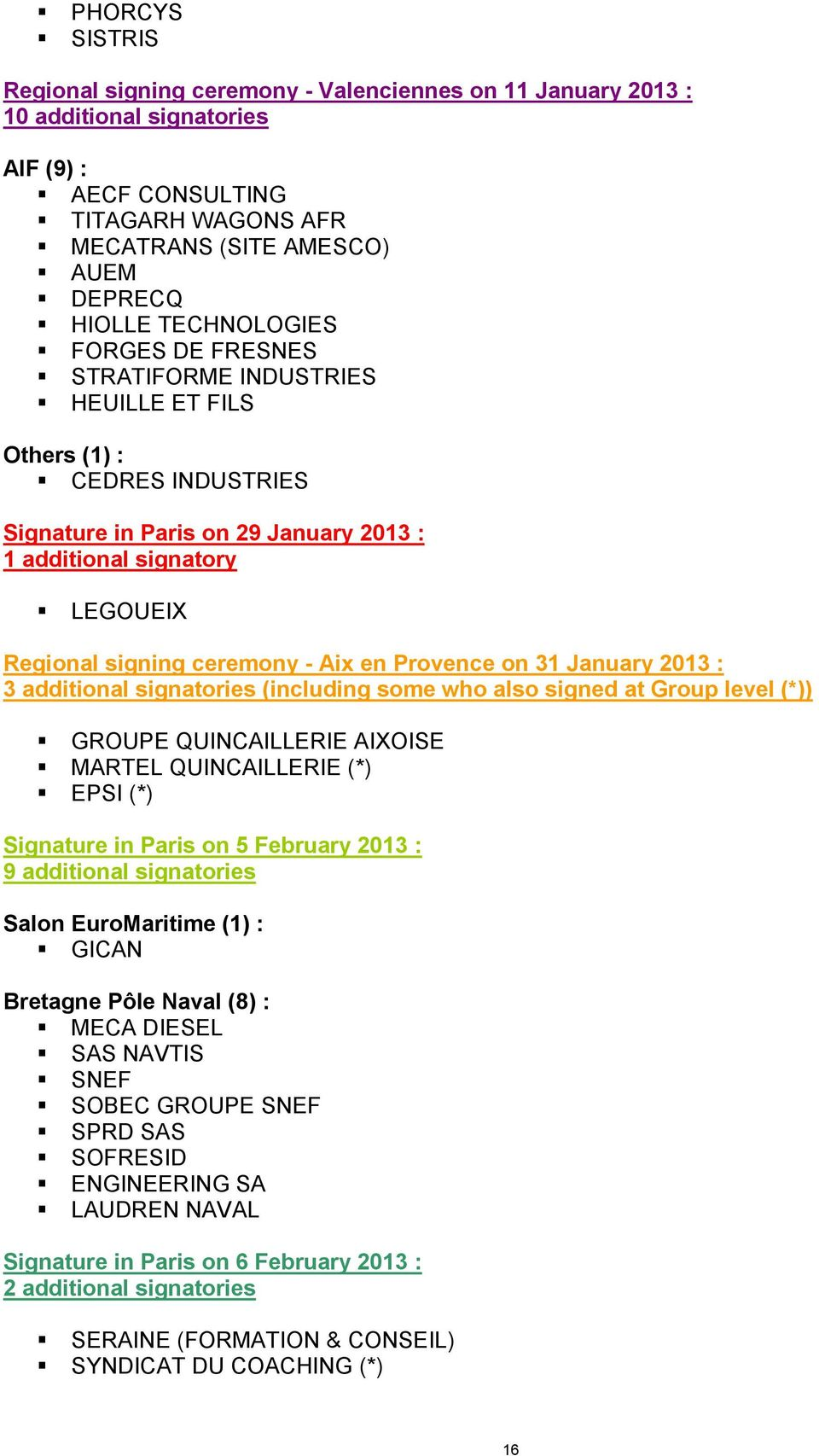 January 2013 : 3 additional signatories (including some who also signed at Group level (*)) GROUPE QUINCAILLERIE AIXOISE MARTEL QUINCAILLERIE (*) EPSI (*) Signature in Paris on 5 February 2013 : 9