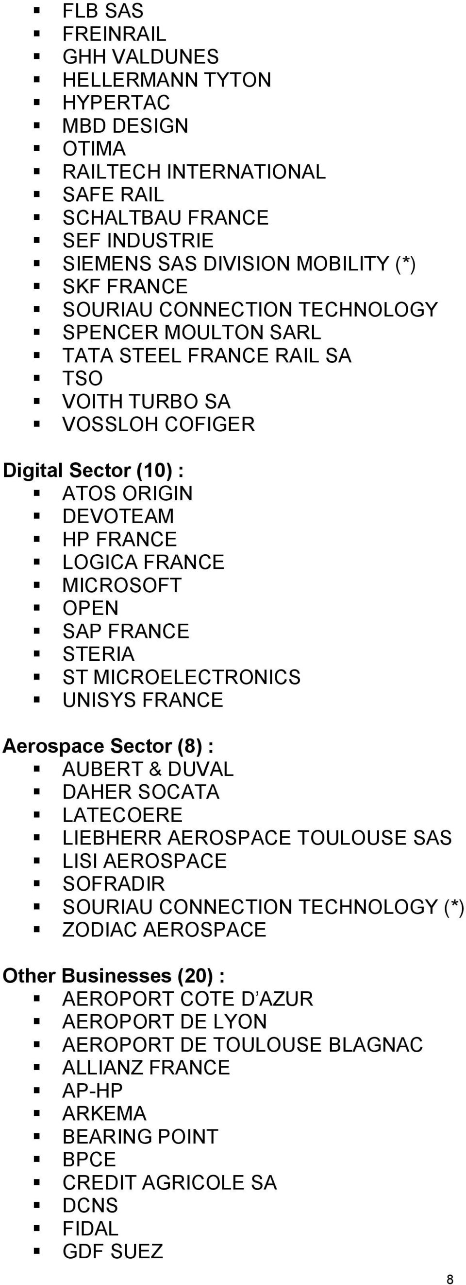 FRANCE STERIA ST MICROELECTRONICS UNISYS FRANCE Aerospace Sector (8) : AUBERT & DUVAL DAHER SOCATA LATECOERE LIEBHERR AEROSPACE TOULOUSE SAS LISI AEROSPACE SOFRADIR SOURIAU CONNECTION