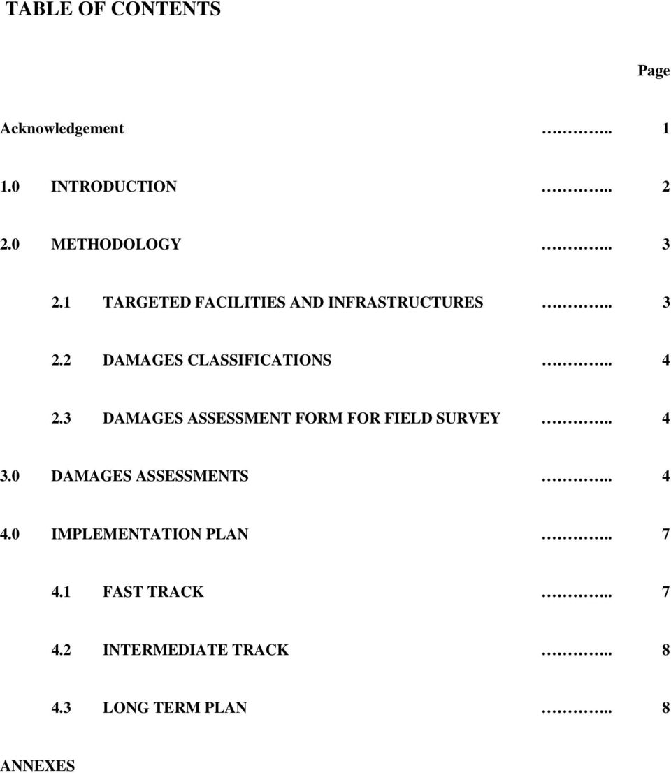 3 DAMAGES ASSESSMENT FORM FOR FIELD SURVEY.. 4 3.0 DAMAGES ASSESSMENTS.. 4 4.