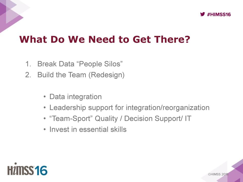 Build the Team (Redesign) Data integration Leadership