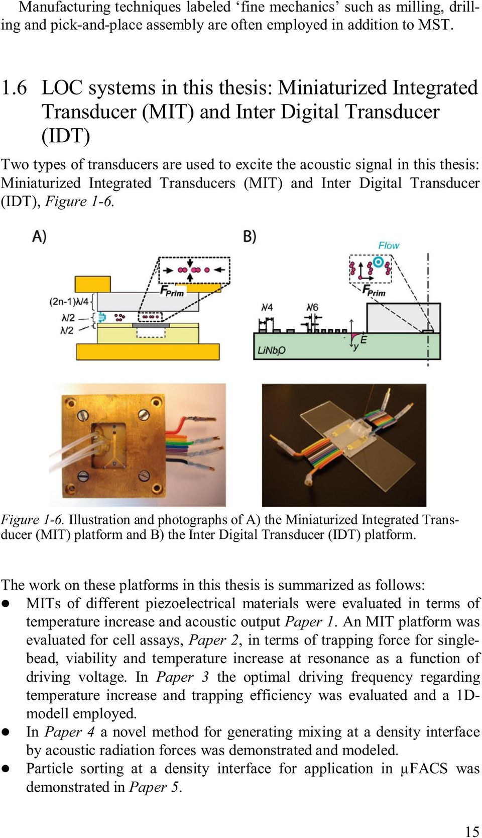 Integrated Transducers (MIT) and Inter Digital Transducer (IDT), Figure 1-6.