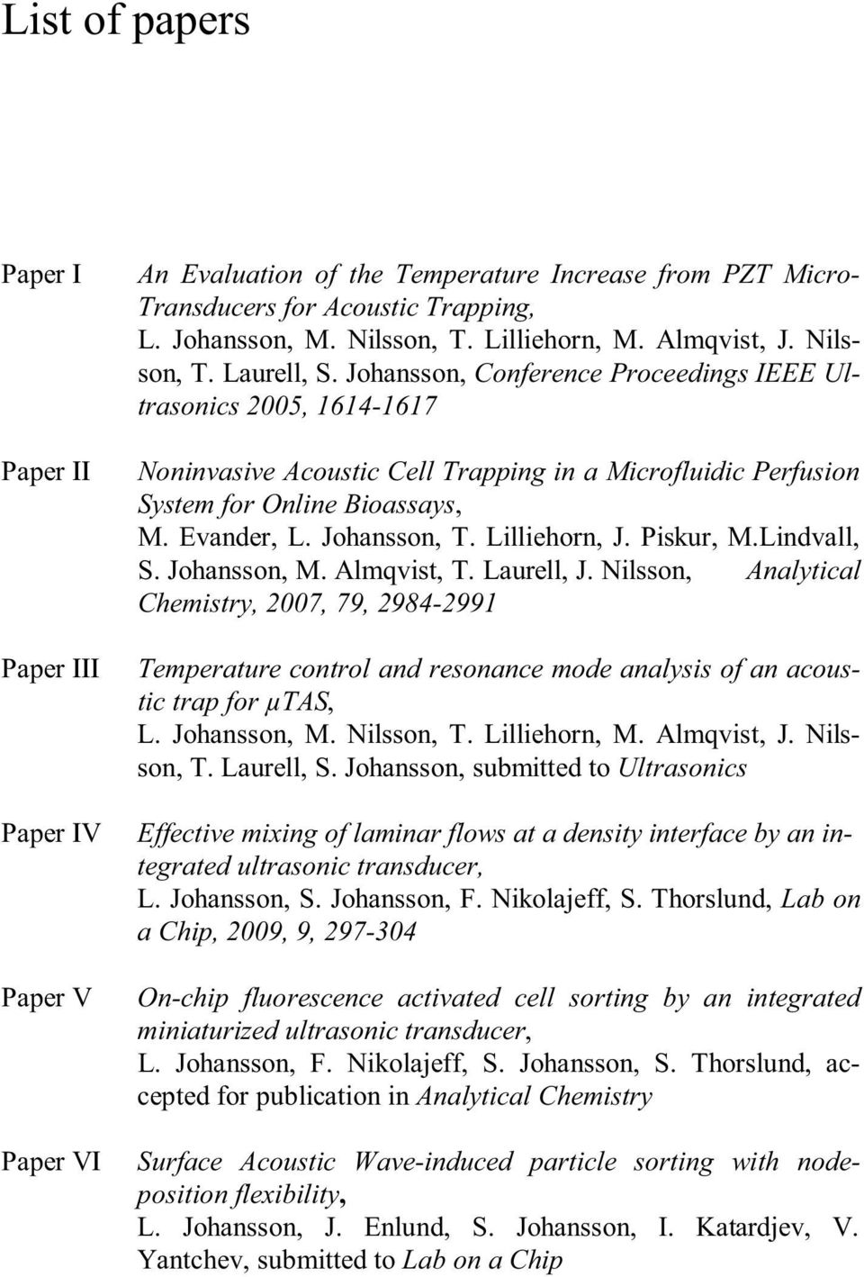 Johansson, Conference Proceedings IEEE Ultrasonics 2005, 1614-1617 Noninvasive Acoustic Cell Trapping in a Microfluidic Perfusion System for Online Bioassays, M. Evander, L. Johansson, T.