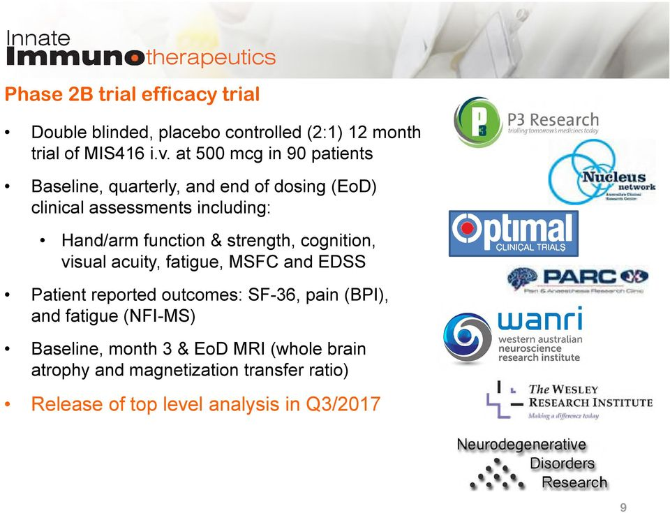 function & strength, cognition, visual acuity, fatigue, MSFC and EDSS Patient reported outcomes: SF-36, pain (BPI),