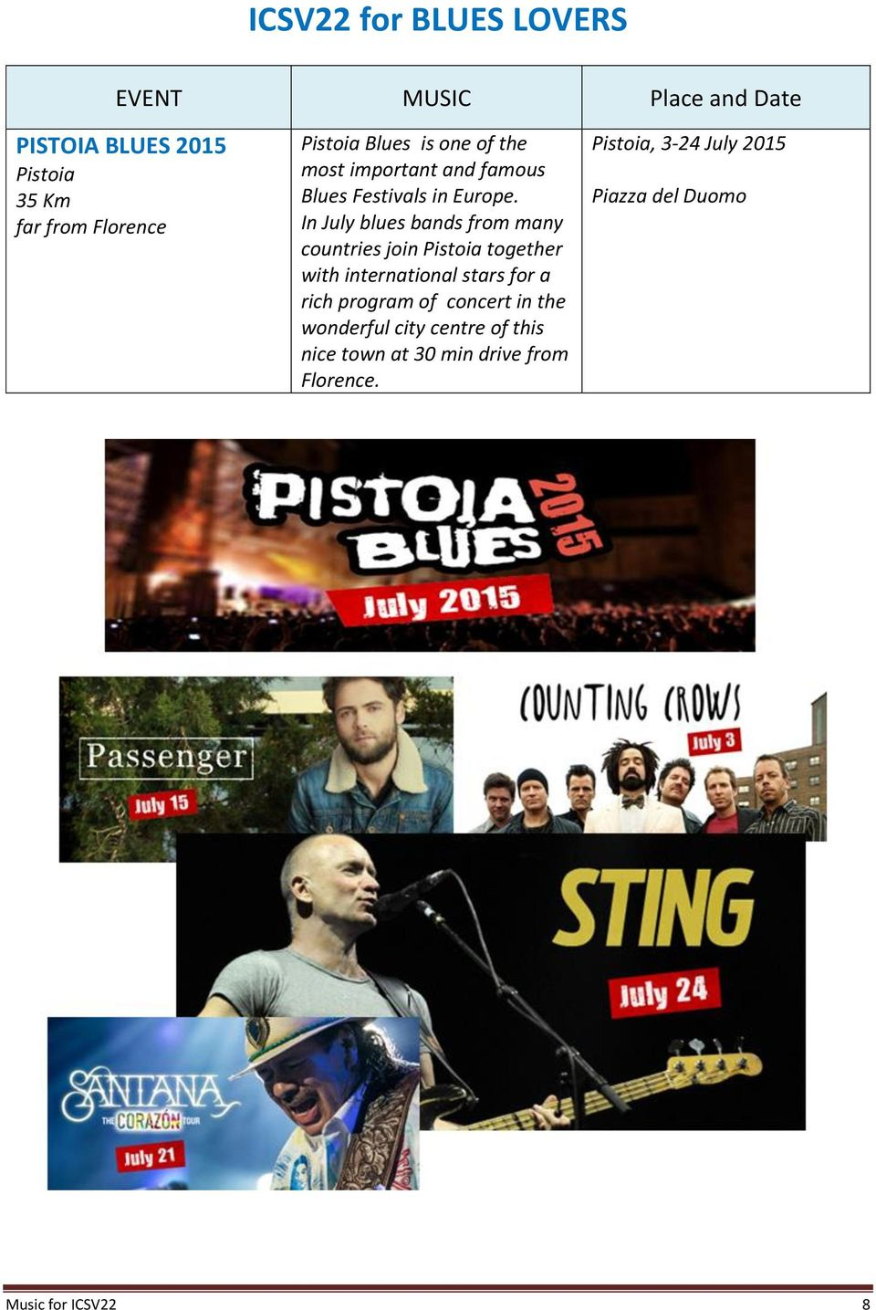 In July blues bands from many countries join Pistoia together with international stars for a rich program of