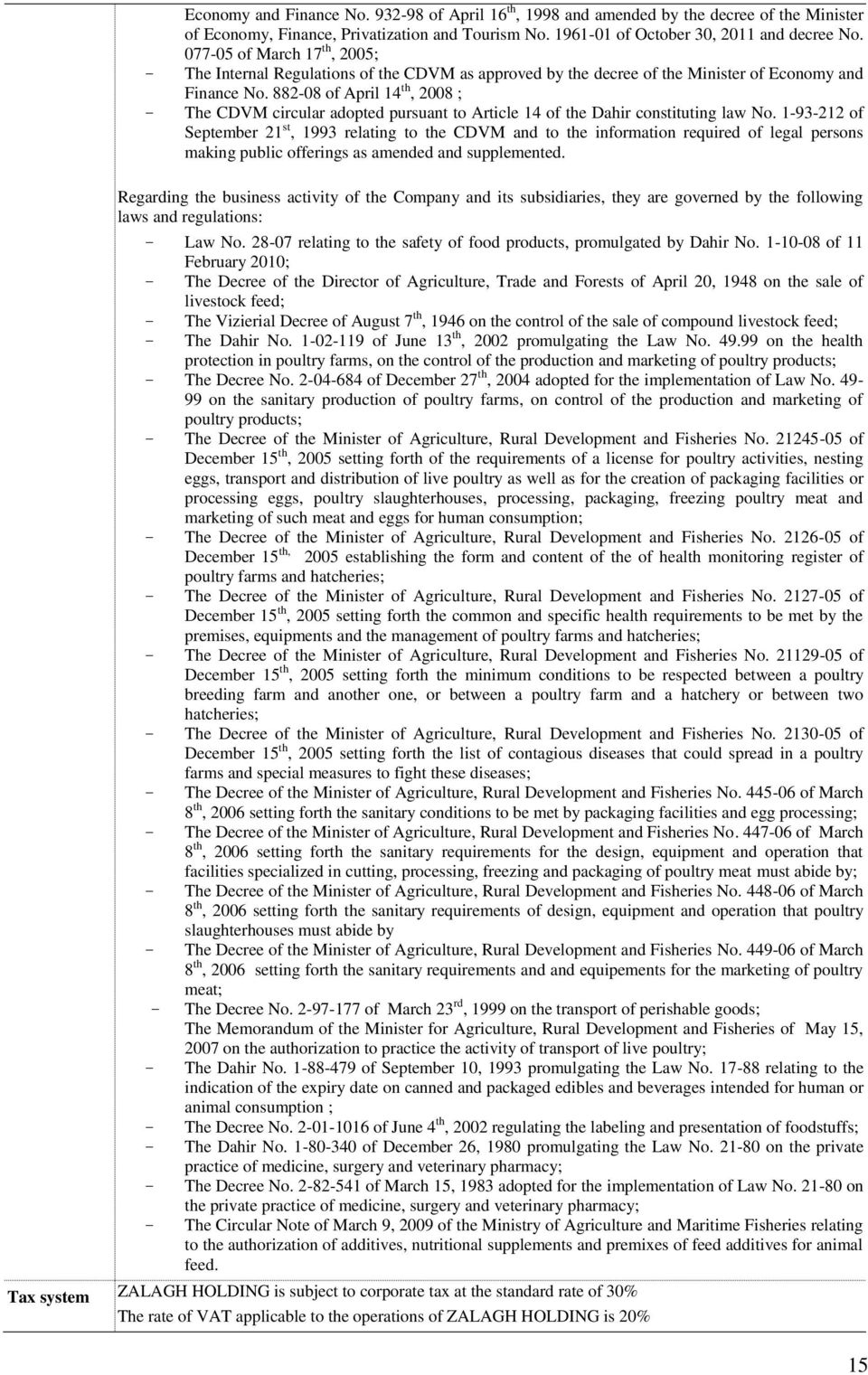 882-08 of April 14 th, 2008 ; - The CDVM circular adopted pursuant to Article 14 of the Dahir constituting law No.