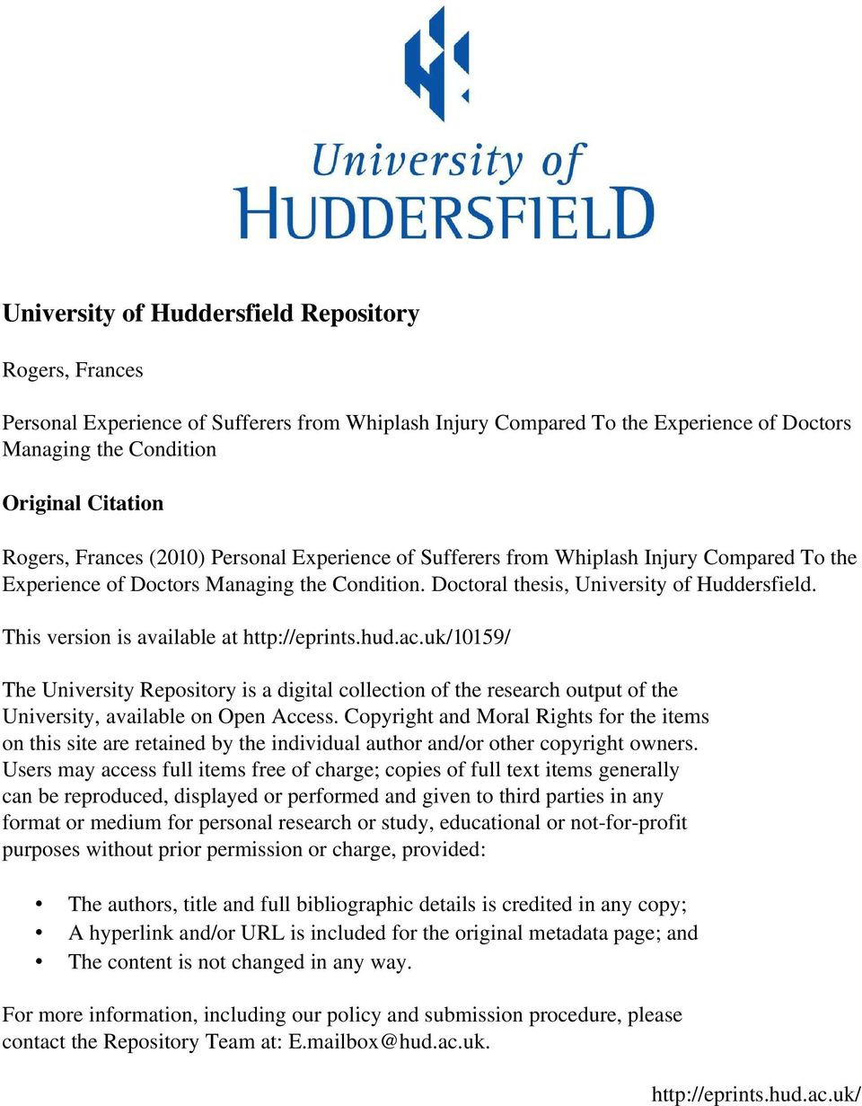 This version is available at http://eprints.hud.ac.uk/10159/ The University Repository is a digital collection of the research output of the University, available on Open Access.