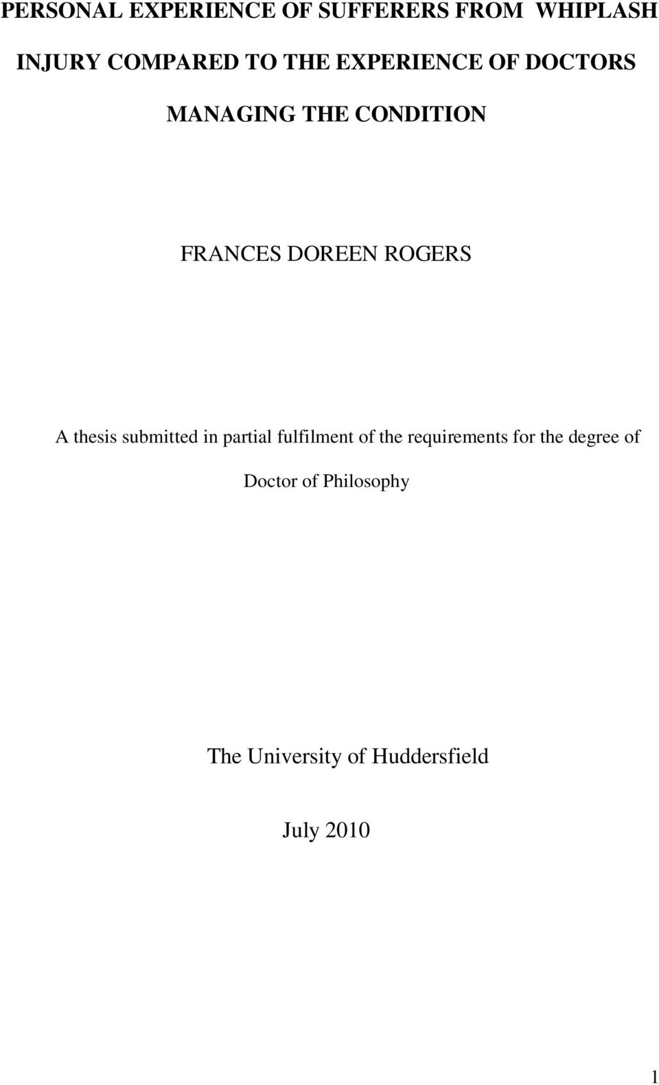 thesis submitted in partial fulfilment of the requirements for the