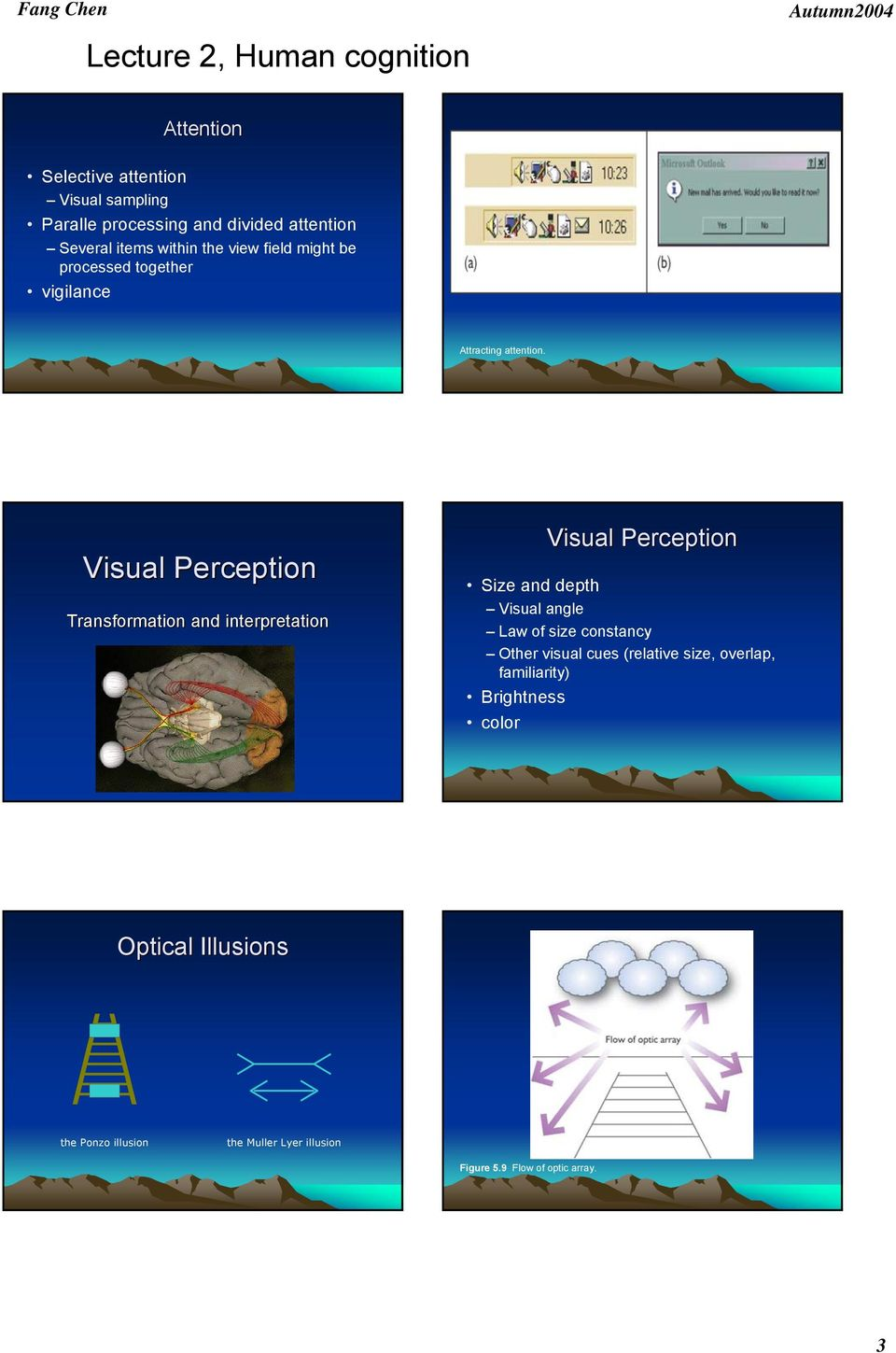 Visual Perception Transformation and interpretation Visual Perception Size and depth Visual angle Law of size