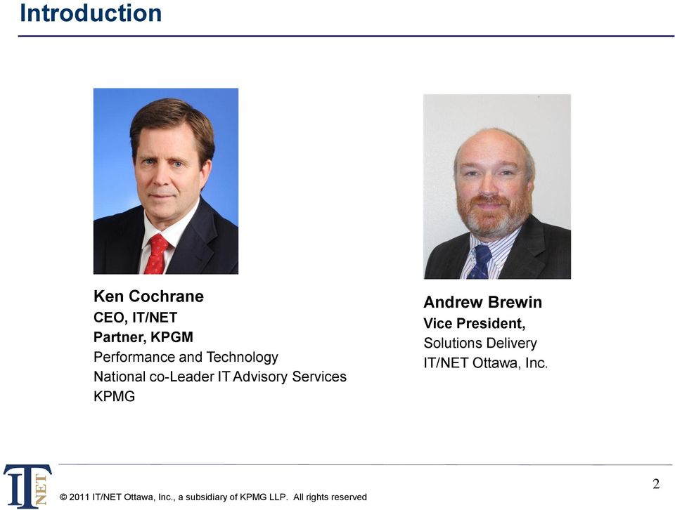 co-leader IT Advisory Services KPMG Andrew