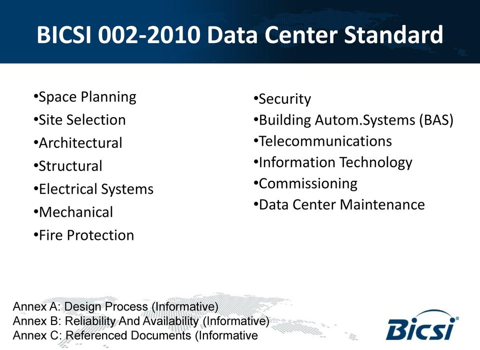 Systems (BAS) Telecommunications Information Technology Commissioning Data Center Maintenance
